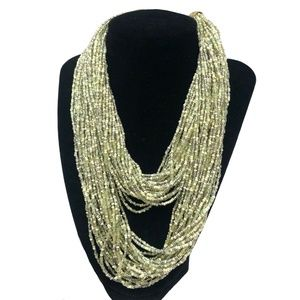 JOAN RIVERS VERY LONG GREEN SEED BEAD NECKLACE